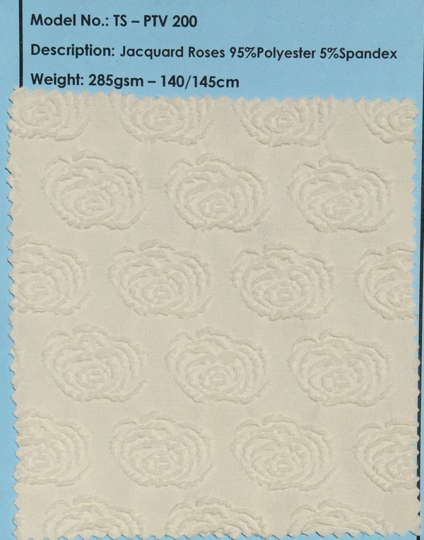 White Jacquard Rose Fabric Swatch