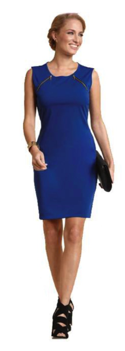 Feminine bodycon office ponte roma knit dress with decorative zippers.    polyester with spandex