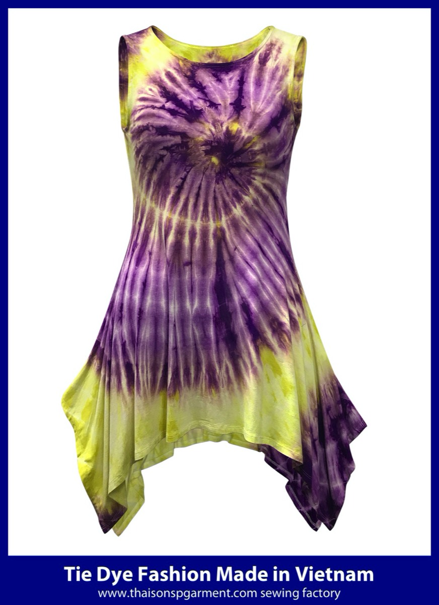 Purple and Yellow Tie Dye Dress